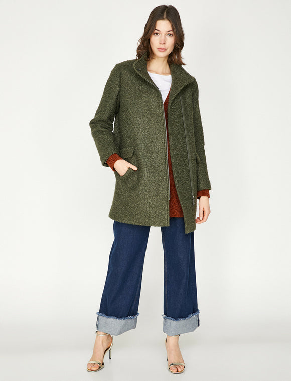 3630 Khaki Zip Up Coat