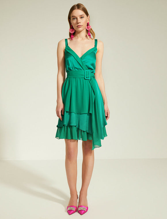 15161 green tiered satin detail dress