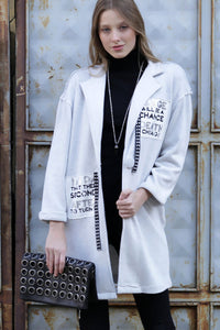 3510025 White Printed Long Sleeve Jacket