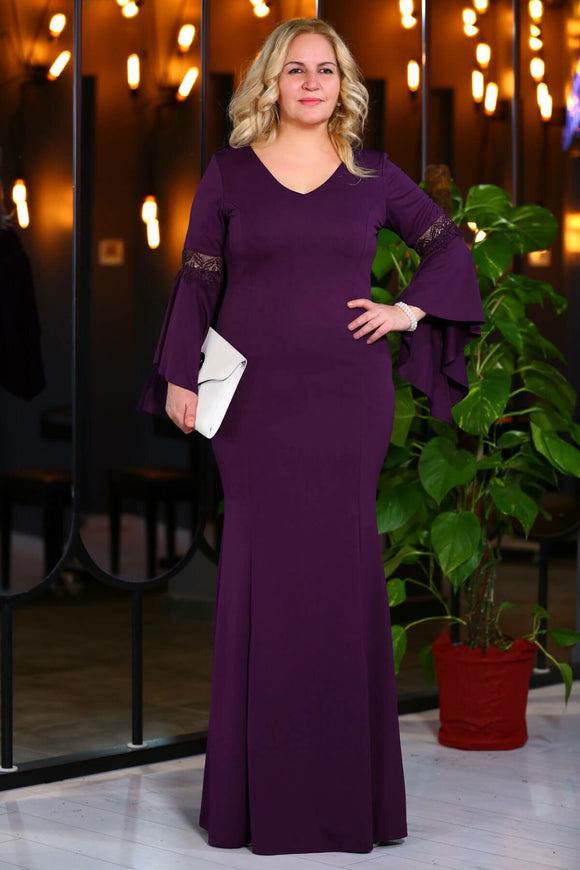 2878 Purple Bell Sleeve Dress