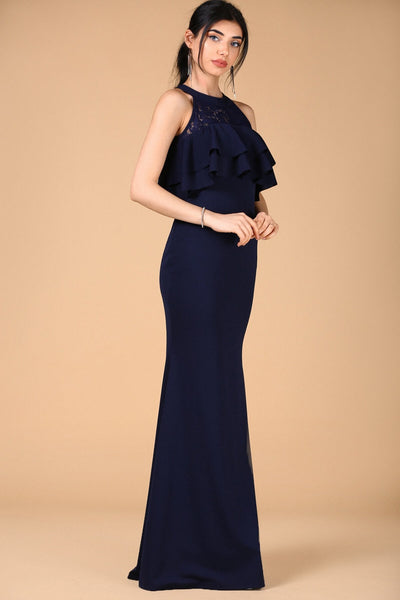 1310819 Navy Blue Lace Collar Mermaid Dress