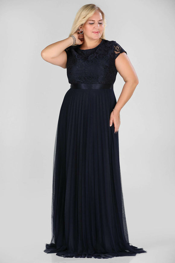 2989 Navy Blue Lace Tulle Dress