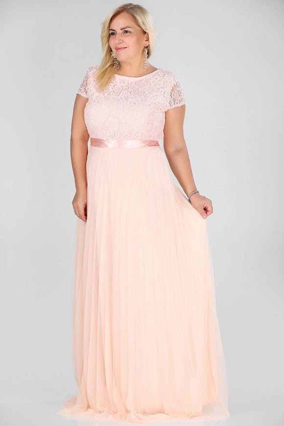 2941 Pink Lace Pleated Tulle Skirt Dress