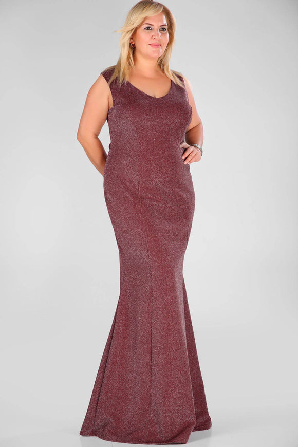4570 Burgundy Silvery Mermaid Dress