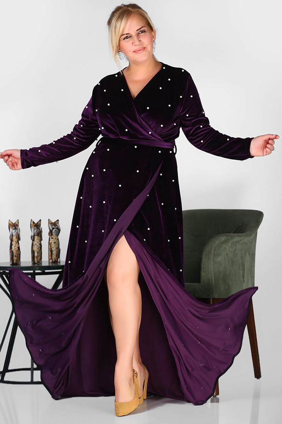 1332 Purple Plus Pearl Embroidered Wrap Dress