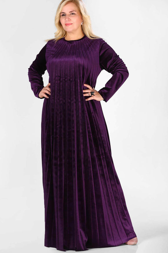 4862 Purple Pleated Velvet Dress