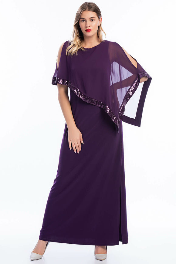2536 Purple Plus Sequins Cape Slit Dress