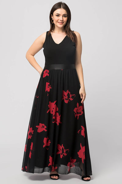 7000024 Black Floral Maxi Evening Dress