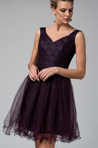 1310102 Lace-Chiffon Princess Purple Dress