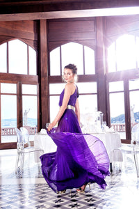 1310075 Purple Pleated Dress