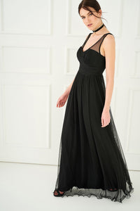 1310136 Black Flowing Gown