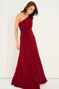 1310071 Red Draped Single Shoulder Dress