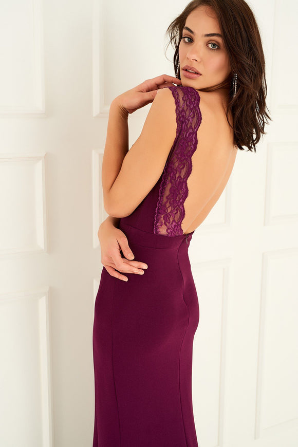 1310113 Plum Open Laced Back Dress
