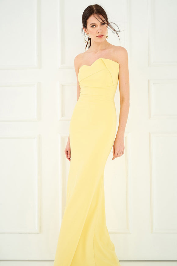 1310106 Yellow Strapless Dress