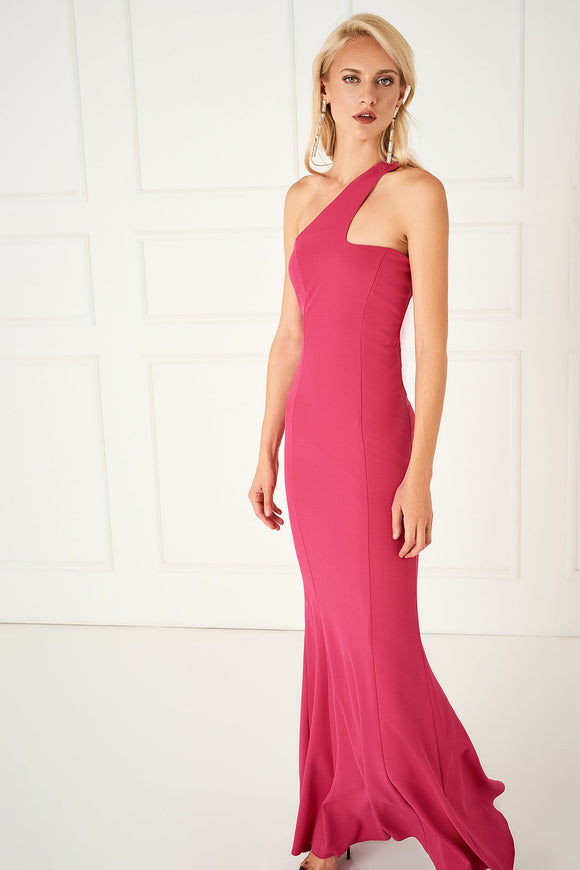 1310134 Fuschia One Shoulder Dress