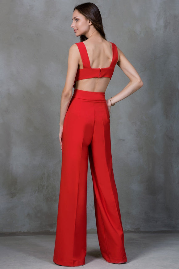 5212098 Red Open Back Jumpsuit