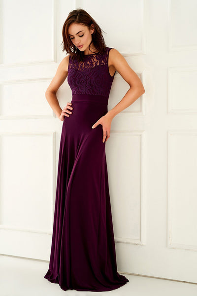 1310114 Plum Lace Bodice Dress