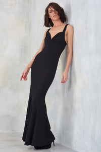 1310112 Black Long Strap Dress