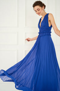 1310097 Blue Pleated Gown