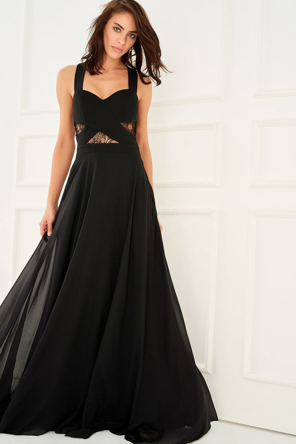 1310135 Black Lace Decolleted Gown