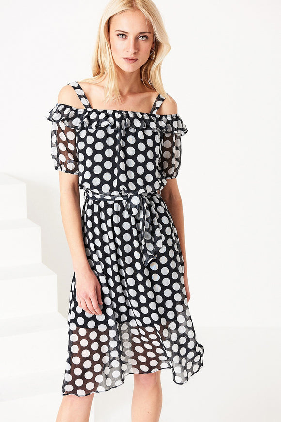 4510109 Black Polka Detailed Dress