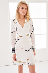 4510082 White Printed Wrap Dress