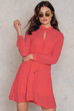 4510077 Coral Chinese Collar Dress