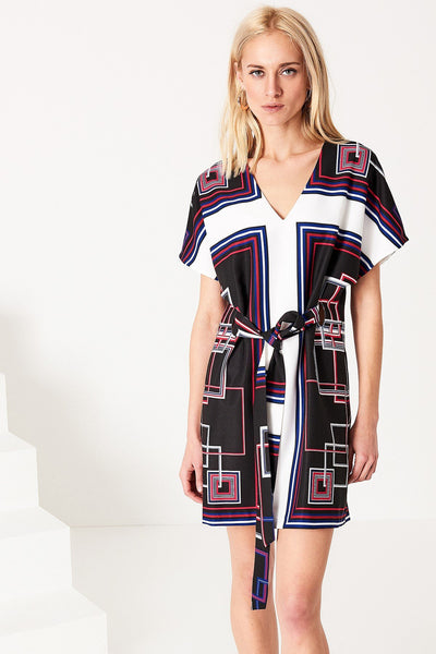 1210025 Patterned V Neck Dress