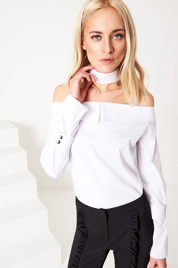 3020350 White Off-Shoulder Blouse