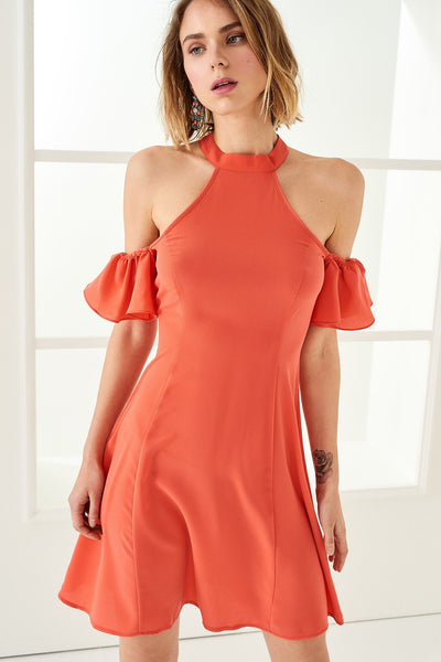 1210057 Coral Open Shoulder Dress