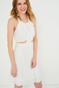 1210058 White Striped Open Waist Dress