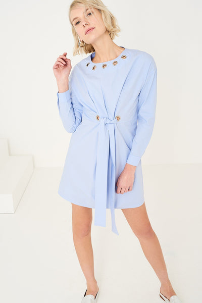 1210022 Blue Ring Detail Poplin Dress