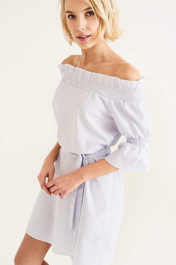 1210029 White Striped Off-Shoulder Dress