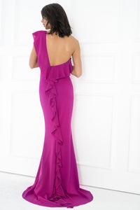 1310014 Purple Ruffle Tailed Dress