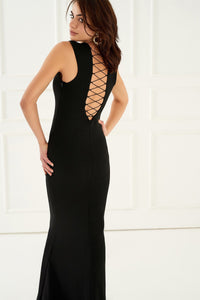 1310098 Black Back Decolleted Dress
