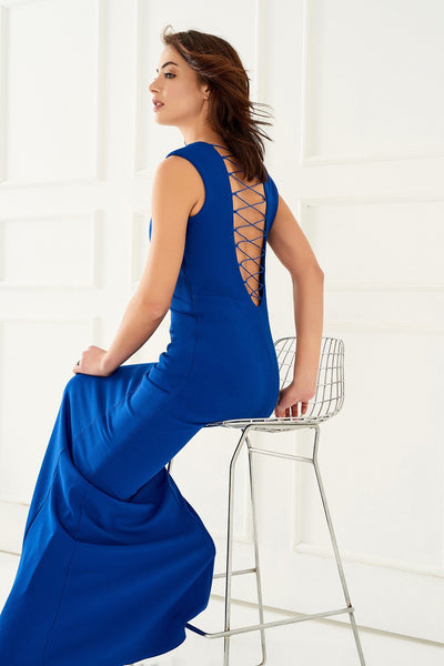 1310099 Blue Back Decolleted Dress