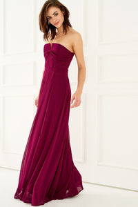 1310079 Plum Bow-Tie Bodice Dress
