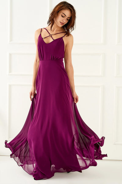 1310017 Purple Criss Cross Straps Dress
