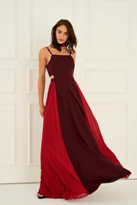 1310041 Burgundy-Red Open Waist Dress