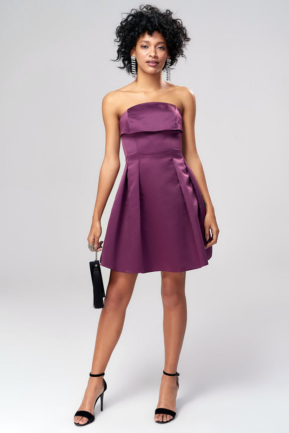 1310011 Plum Sleeveless Pleated Dress