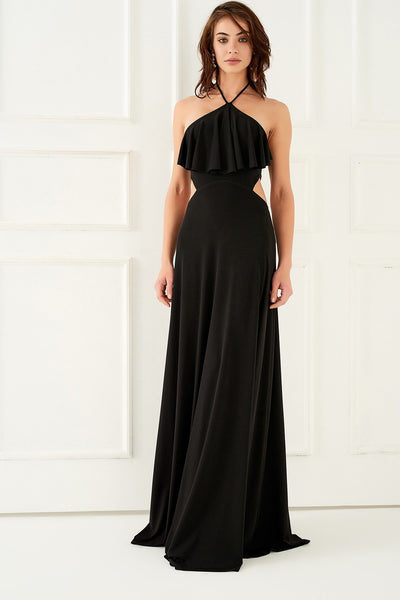 1310009 Black Open Back Dress