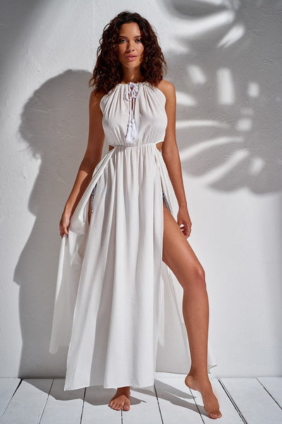 1210051 White Beach Slit Dress