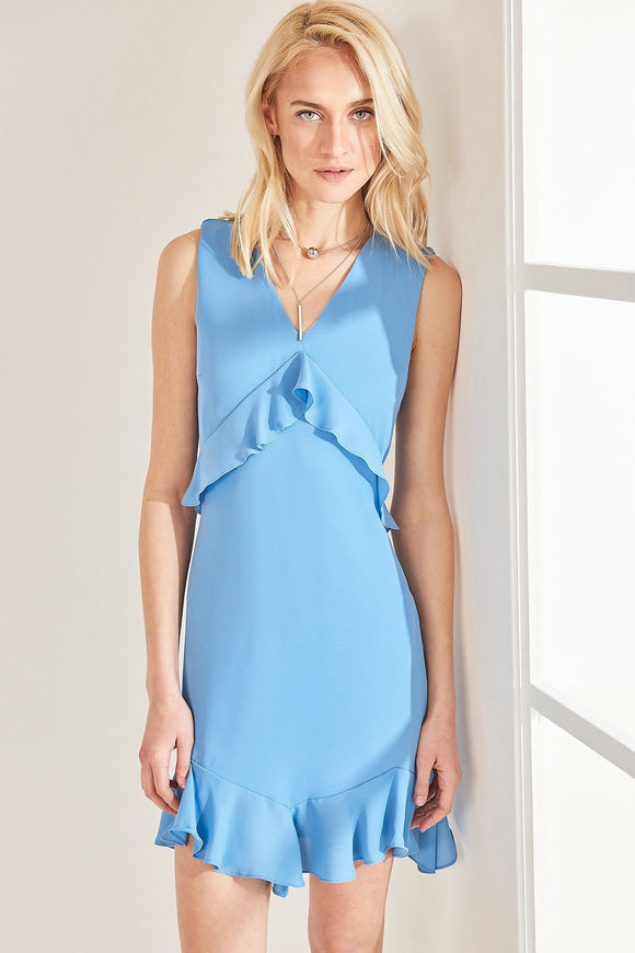4510090 Blue V Neck Frill Detail Dress