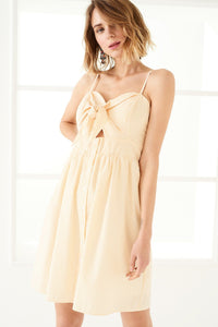 1210016 Yellow Spaghetti Strap Dress