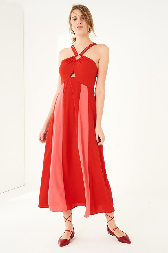 1210018 Pomegranate Halterneck Dress