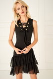 4510087 Black Lace-up Tiered Dress