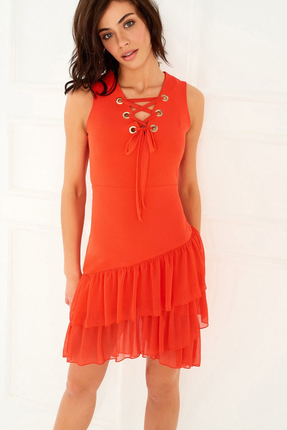 1210003 Orange Lace-up Tiered Dress