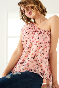 3020075 Peach Floral One Shoulder Blouse