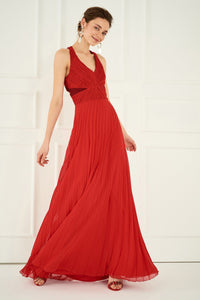 1310059 Red Pleated Dress
