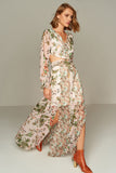 1210038 Pink Flower Pattern Maxi Dress